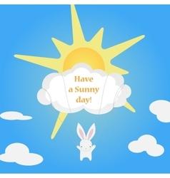 Little cute white Bunny flies cloud vector image