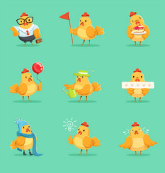 little yellow chicken chick different emotions and vector image