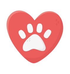 Love heart paw animal adoption charity and vector