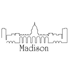 madison city one line drawing vector image