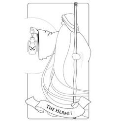 Major arcana tarot cards the hermit old man with vector