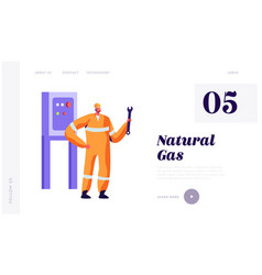 Man engineer with wrench service gas industry vector