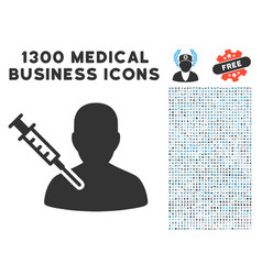 Man vaccination icon with 1300 medical business vector