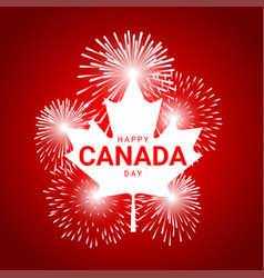 maple leaf with fireworks for national day vector image