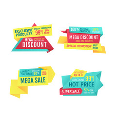 mega sale discount for natural exclusive products vector image