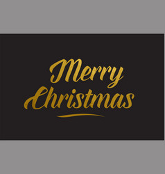 Merry christmas gold word text typography vector