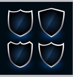 metallic shield symbols or badges design set vector image