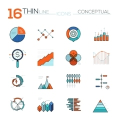 Modern thin line flat icons collection in vector