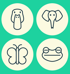 Nature icons set collection of duck moth vector