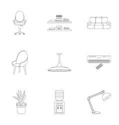 Office furniture and interior set icons in outline vector image