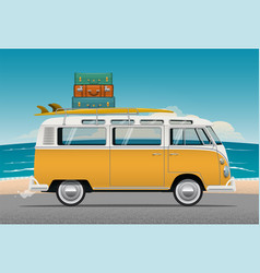 old school camper mini van with surf board vector image