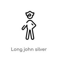 Outline long john silver icon isolated black vector