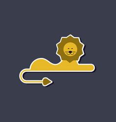 Paper sticker on stylish background cartoon lion vector