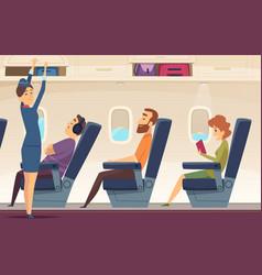 Passengers airplane stewardess avia service vector