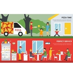 Pizza Time and Perfect Service flat concept web vector
