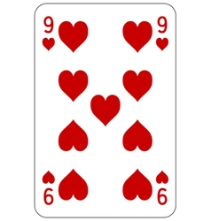 Poker playing card 9 heart vector image