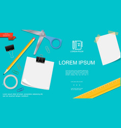 realistic office stationery template vector image