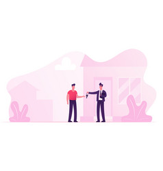 realtor selling or renting house to young man vector image