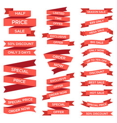red sale ribbons set isolated on white background vector image