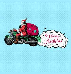 Santa claus on a motorbike merry christmas vector