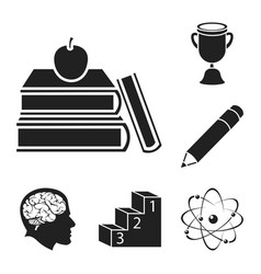 School and education black icons in set collection vector