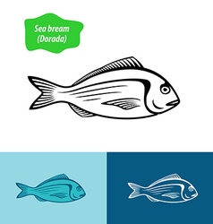 Sea bream silhouette vector image