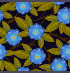 Seamless abstract floral pattern blue for girl vector