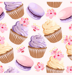 seamless cupcakes and flowers vector image