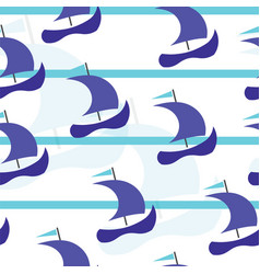 Seamless pattern with blue boats - summer pattern vector
