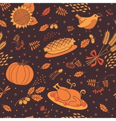 Seamless pattern with pumpkins leaves wheat and vector