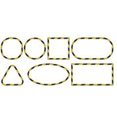 set 3d frames yellow and black stripes ribbon vector image