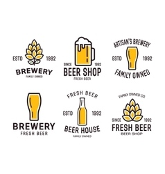 set linear brewery logos labels with bottles vector image