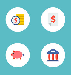 set of finance icons flat style symbols with vector image