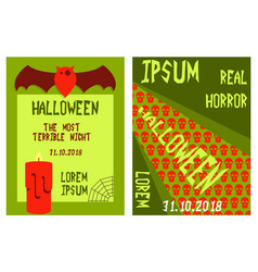 Set of flyers for halloween templates of posters vector