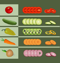Set various whole and chopped vegetables vector