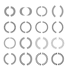 several style laurel wreath icons set vector image
