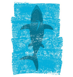 Shark in ocean waves underwater blue background vector
