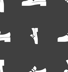 Shoe icon sign Seamless pattern on a gray vector image