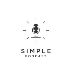 simple microphone for podcast logo design vector image