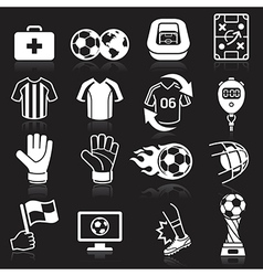 Soccer icons on black background vector