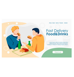 Tasty food landing page vector