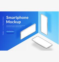 three white realistic isometric smartphones mockup vector image