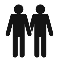 Two men gay icon simple style vector image