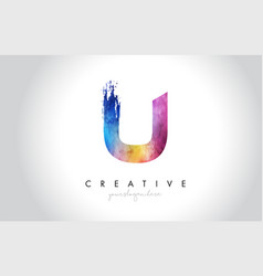 U paintbrush letter design with watercolor brush vector