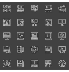 Video editing linear icons vector