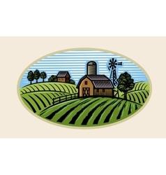 village and landscape vector image vector image