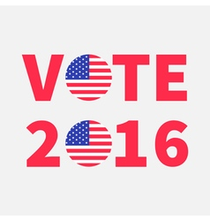 Vote 2016 red text blue badge button icon with vector