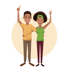 White background and beige circle with couple afro vector