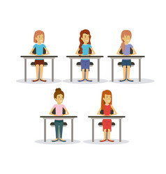 white background set women on desk business people vector image
