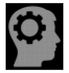 white halftone intellect gear icon vector image